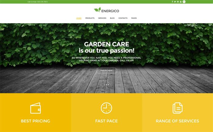 Energico — бесплатный WordPress шаблон для сайта о садоводстве