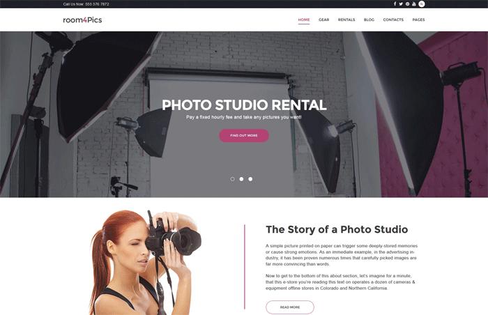 WordPress шаблон Room4Pics для сайта фотостудии