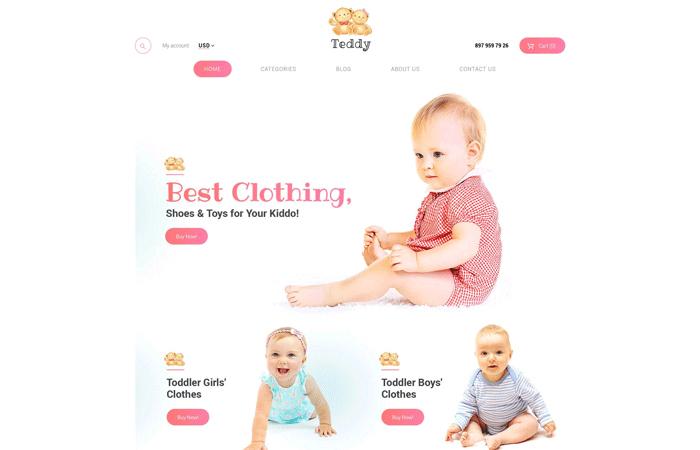 Teddy — адаптивный WooCommerce шаблон для магазина детских товаров