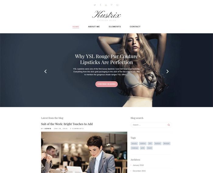 Kustrix Lite — бесплатный адаптивный WordPress шаблон для блога о моде