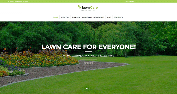 Lawn Care — WordPress шаблон на тему «ландшафтный дизайн»