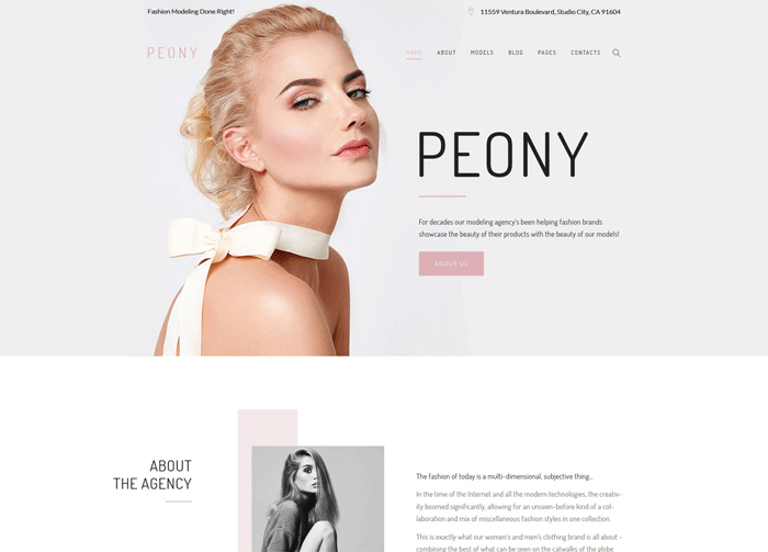 Peony — адаптивный WordPress шаблон для сайта модельного агентства