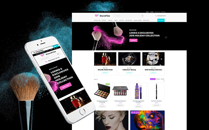 Адаптивный OpenCart шаблон №63354 на тему магазин косметики
