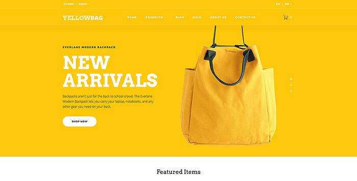 Адаптивный OpenCart шаблон №64827 на тему магазин сумок
