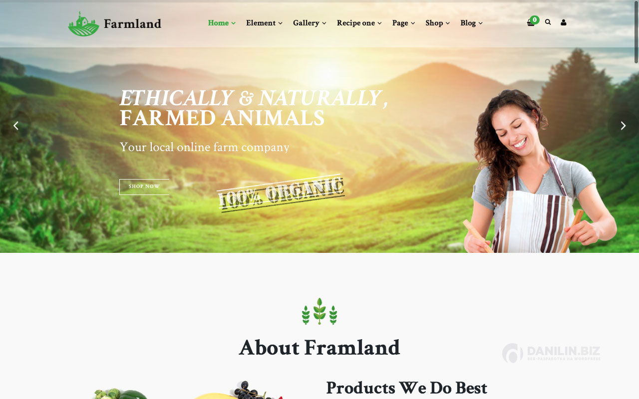 Шаблон интернет-магазина на Вордпресс: Farmland — Organic Food WooCommerce WordPress
