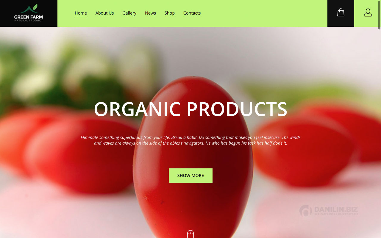 Шаблон интернет-магазина на Вордпресс: Green Farm – Organic Food & Eco Farm WP Theme