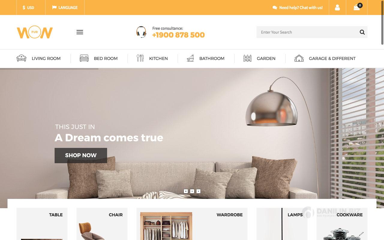 Шаблон интернет-магазина на Вордпресс: Wow — Furniture Marketplace Theme