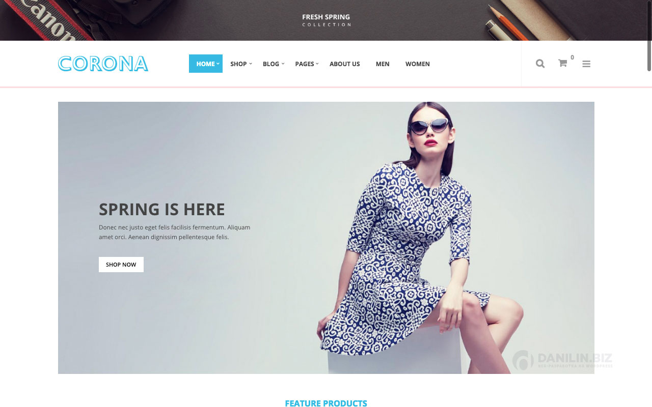 Шаблон интернет-магазина на Вордпресс: Corona — Fashion Responsive WooCommerce WordPress Theme