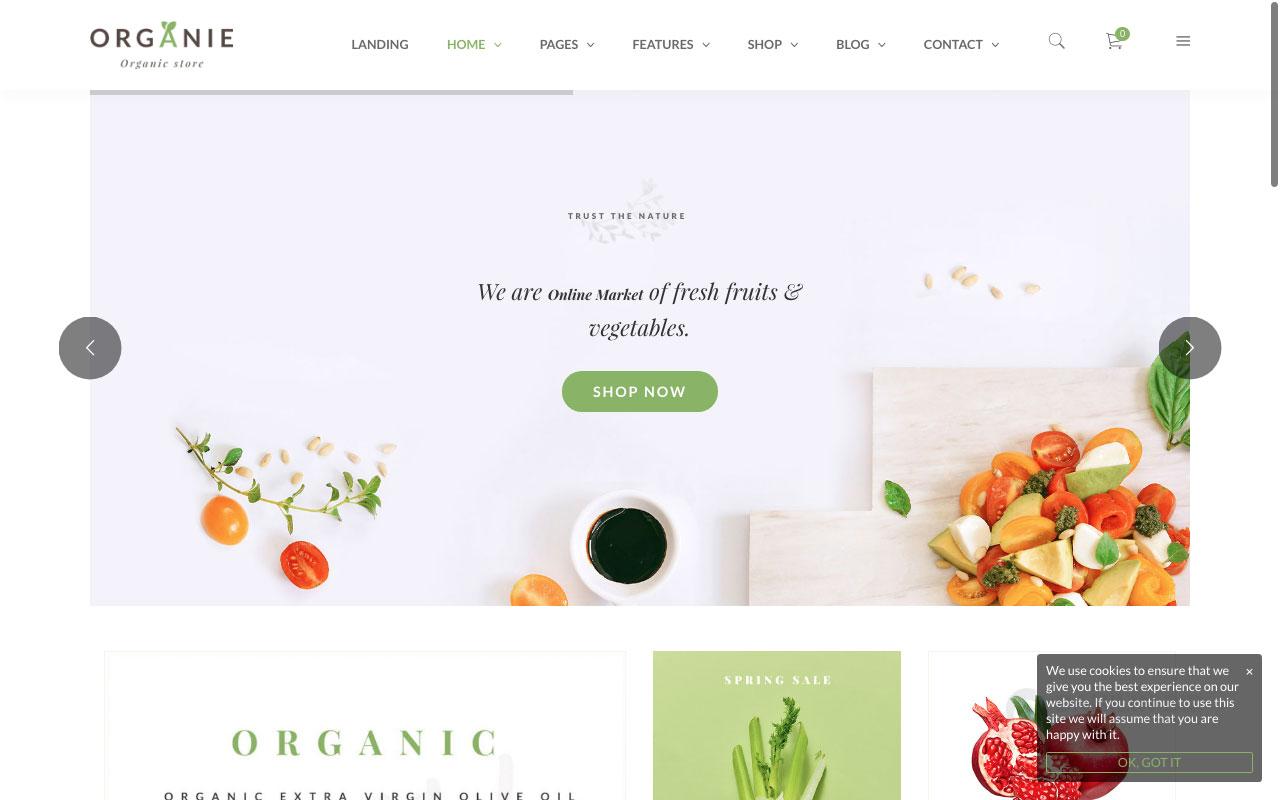 Шаблон интернет-магазина на Вордпресс: Organie — An Organic Store, Farm, Cake and Flower Shop WooCommerce Theme