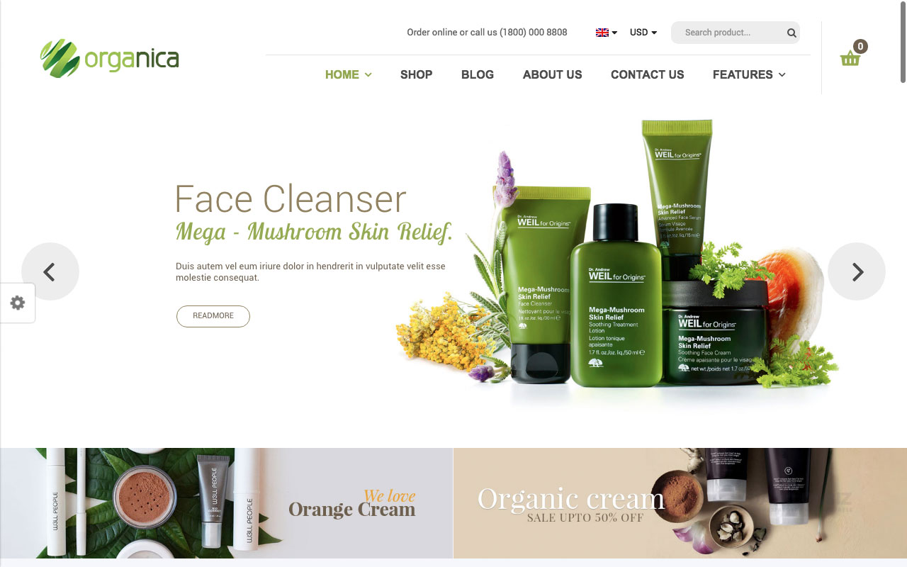 Шаблон интернет-магазина на Вордпресс: Organica — Organic, Beauty, Natural Cosmetics, Food, Farn and Eco WordPress Theme