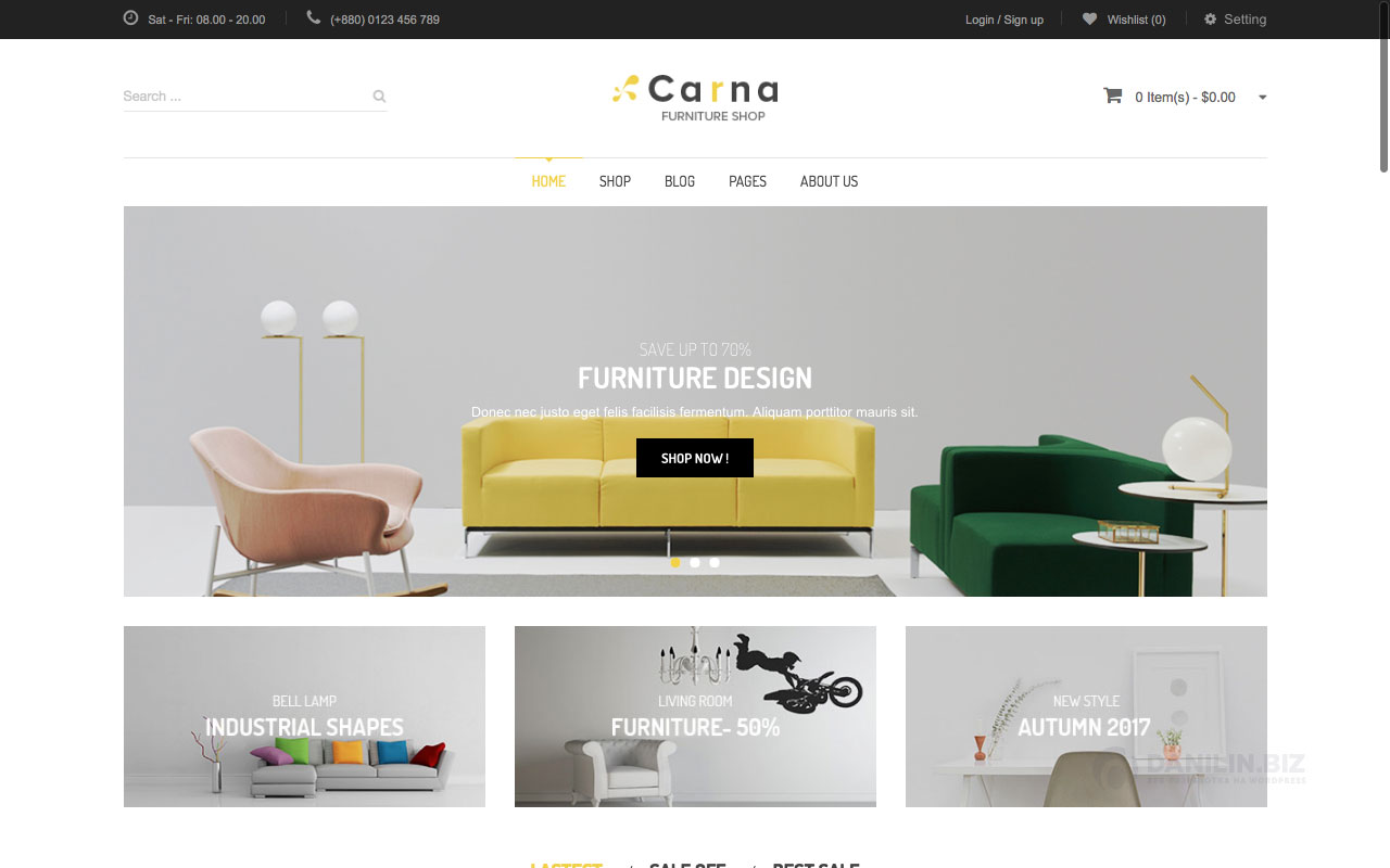 Шаблон интернет-магазина на Вордпресс: Carna — Furniture Responsive WooCommerce WordPress Theme