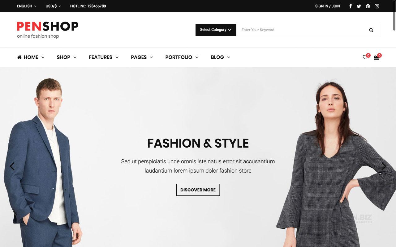 Шаблон интернет-магазина на Вордпресс: PenShop — Multi-Purpose eCommerce WordPress Theme