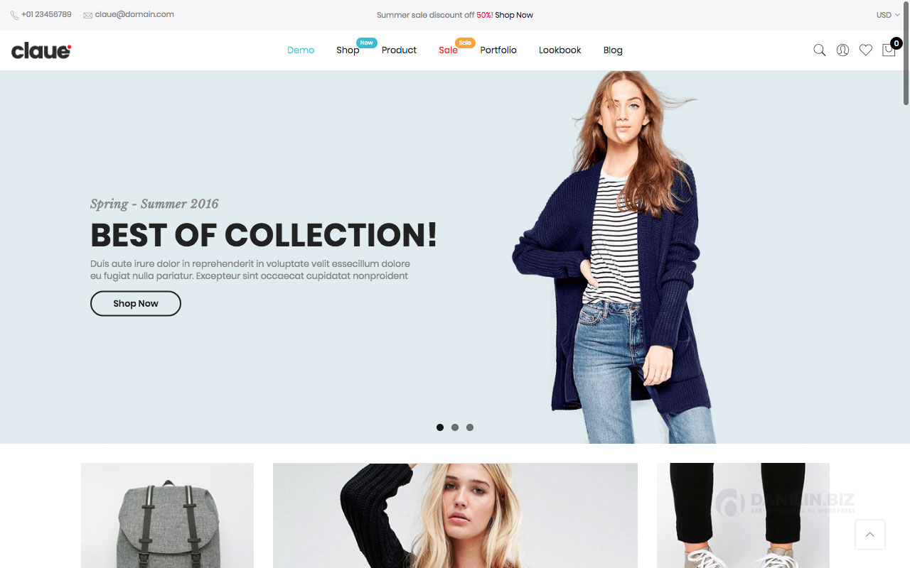 Шаблон интернет-магазина на Вордпресс: Claue — Clean, Minimal WooCommerce Theme