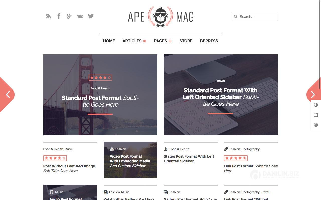 Apemag — стильная журнальная тема с обзорами
