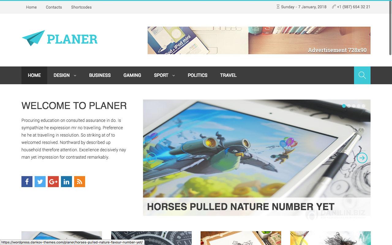 Planer — адаптивная журнальная тема