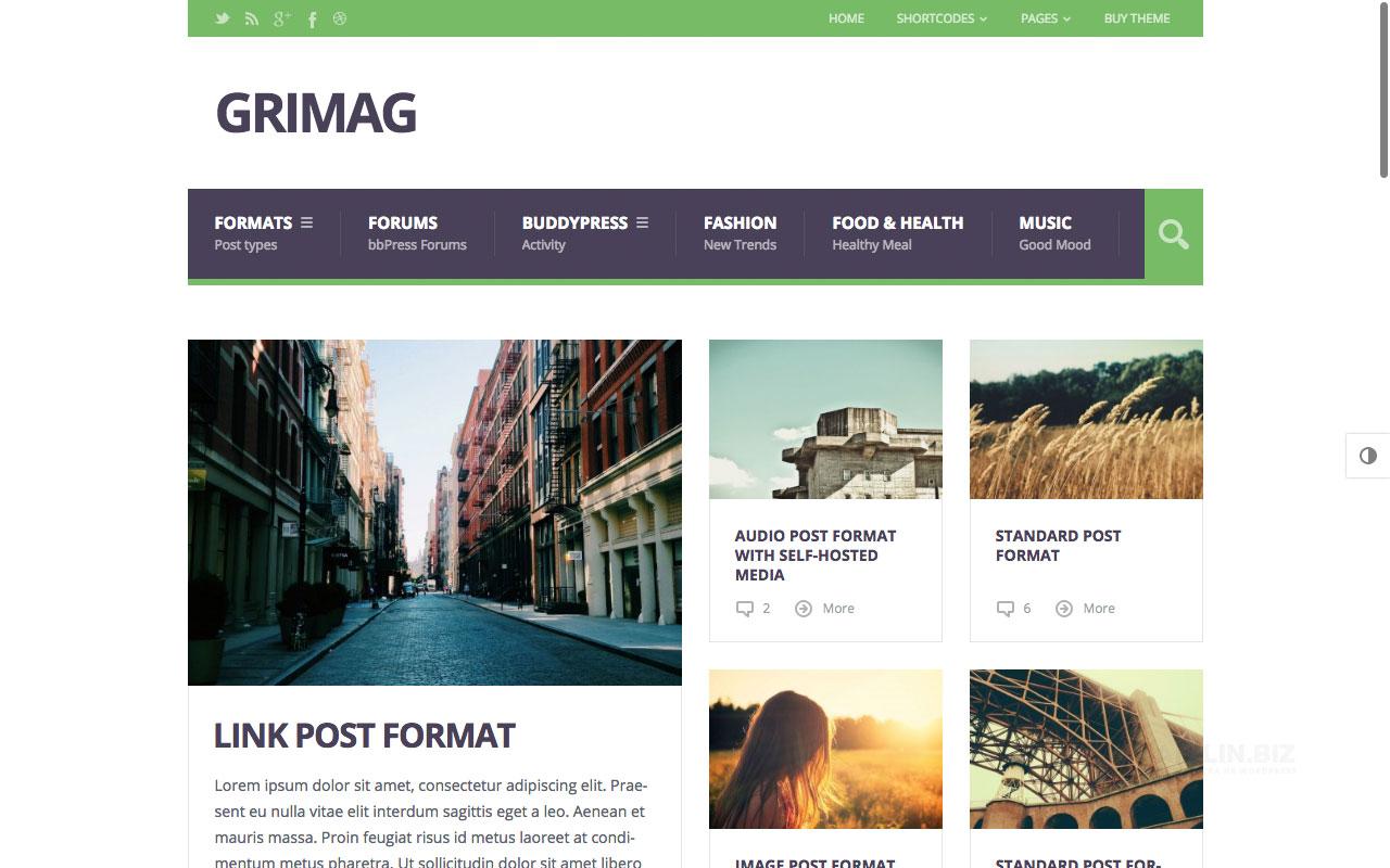 Grimag — журнальная тема с поддержкой объявлений