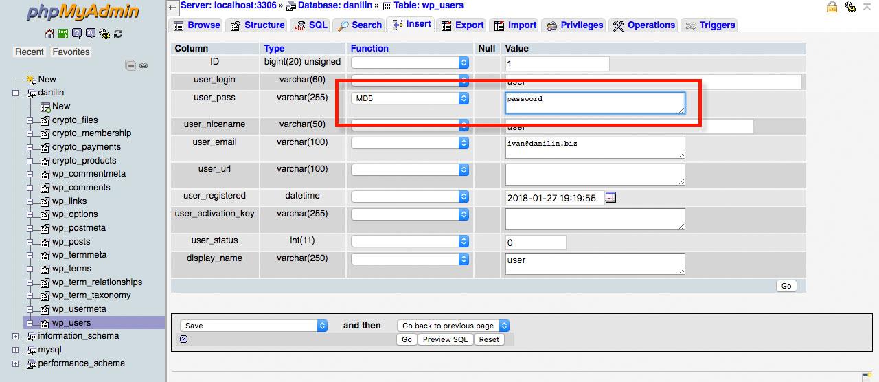 С помощью phpMyAdmin можно задать новый пароль администратора Вордпресс.