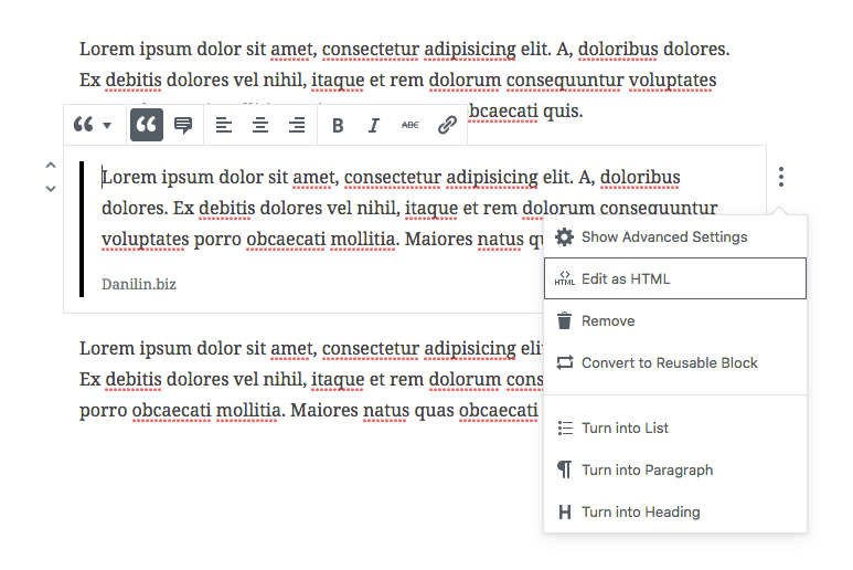 Опции Gutenberg
