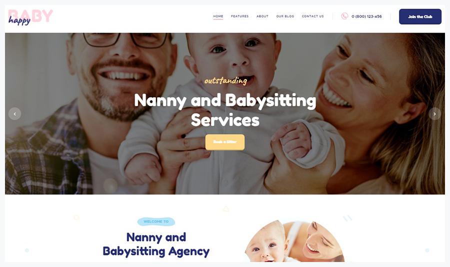Happy Baby | WordPress Шаблон для Сайта Услуг Няни