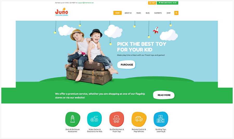 Juno | WordPress Шаблон для Детского Магазина Игрушек и Игр