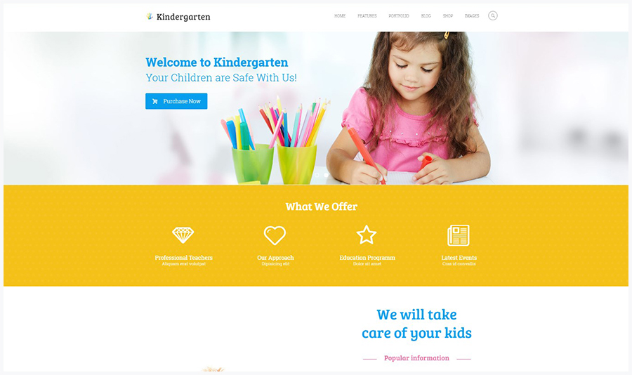 Kindergarten | WordPress Шаблон для Детского Сада