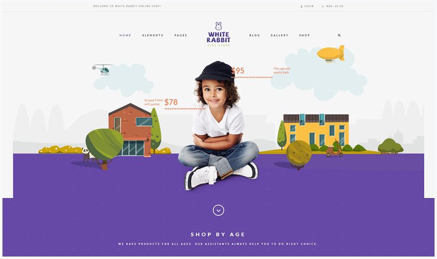 White Rabbit | WordPress Шаблон для Детского Магазина Игрушек и Одежды