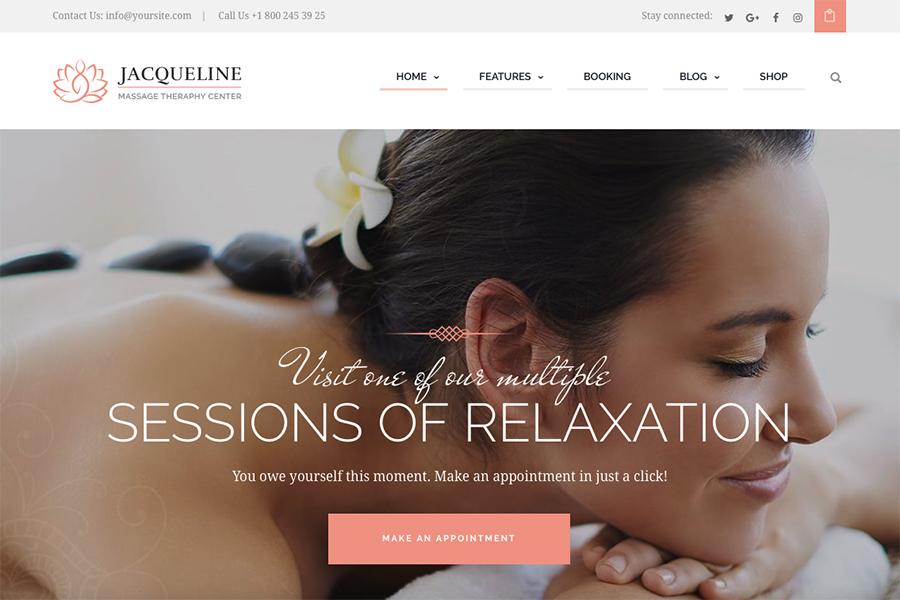 Jacqueline | Шаблон для создания сайта, посвященного спа и массажному салону