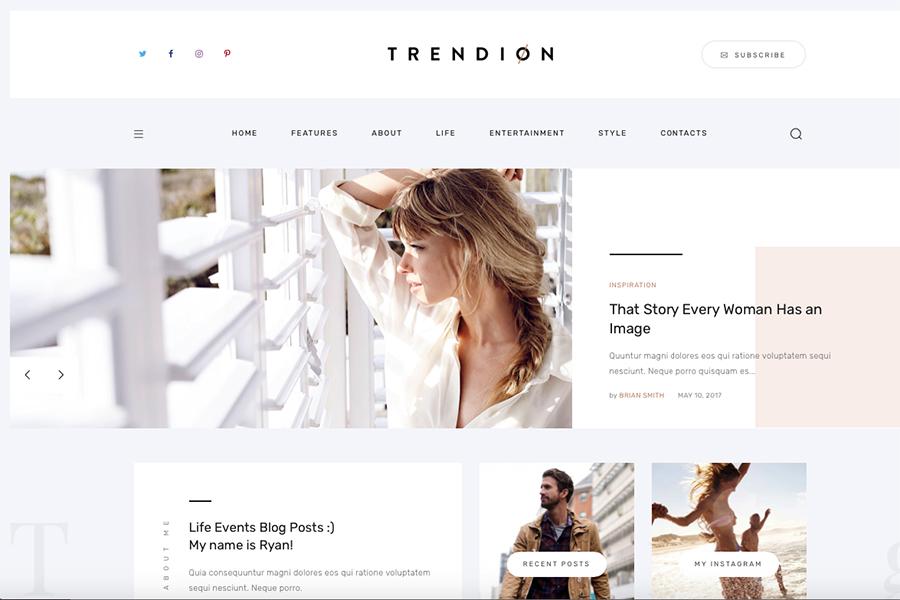 Trendion | Шаблон для создания личного блога или онлайн журнала