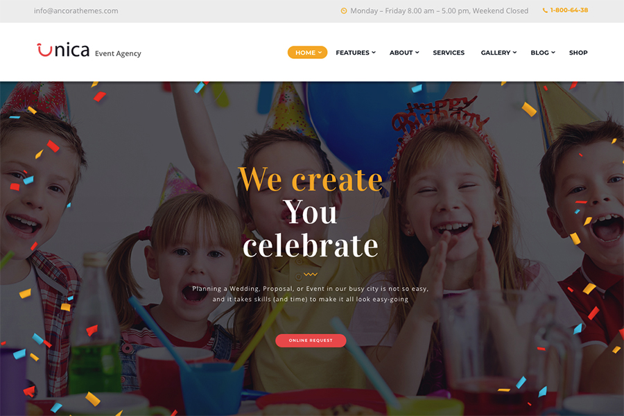 Unica | Шаблон для планирования мероприятий