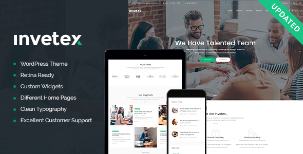 Invetex — Business Consulting & Investments + RTL WordPress Theme
