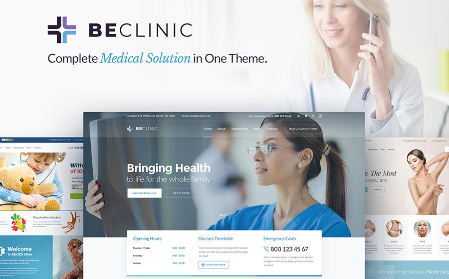 BeClinic — быстрый многоцелевой WordPress шаблон сайта медицинского центра