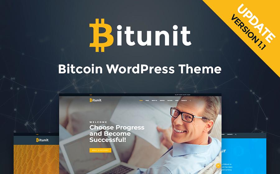 Bitunit — яркий WordPress шаблон сайта о криптовалюте Биткоин