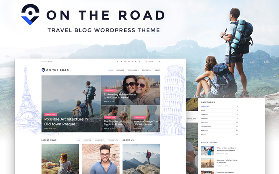 On the Road — захватывающий WordPress шаблон для блога о путешествиях