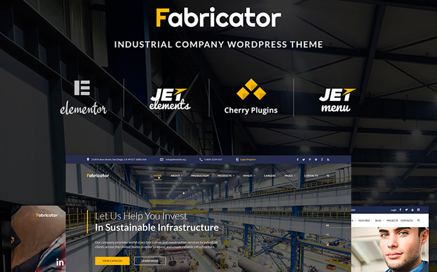 6. Fabricator – шаблон WordPress для сайта промышленной компании