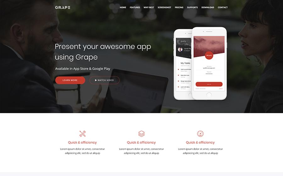 Grape – WordPress лендинг для презентации приложений