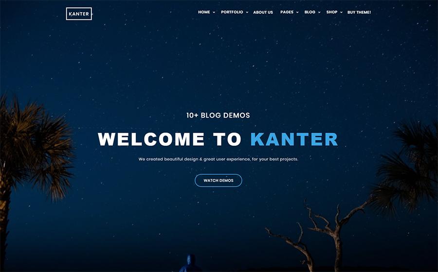 Kanter – WordPress лендинг для портфолио дизайнера