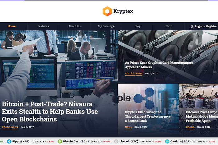 Kryptex | Вордпресс шаблон на тему Криптовалюты и майнинг