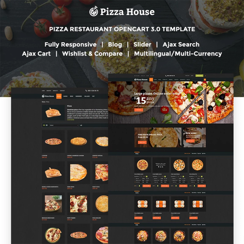Pizza House — OpenCart шаблон для сайта пиццерии с системой онлайн-заказа