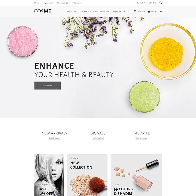 Cosme — OpenCart шаблон для сайта магазина косметики