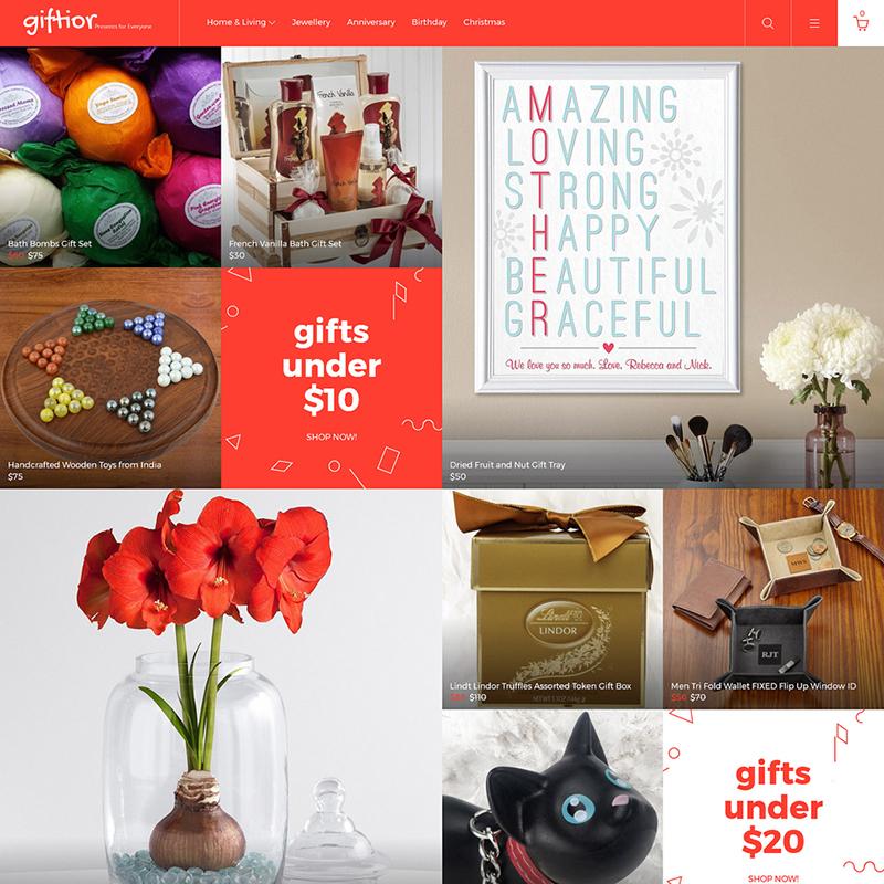 Giftior — OpenCart шаблон для сайта магазина подарков