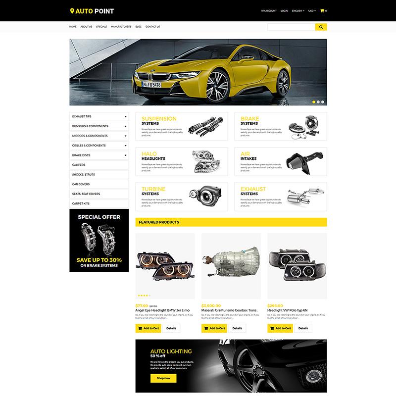 AutoPoint — OpenCart шаблон для сайта автомобильных запчастей
