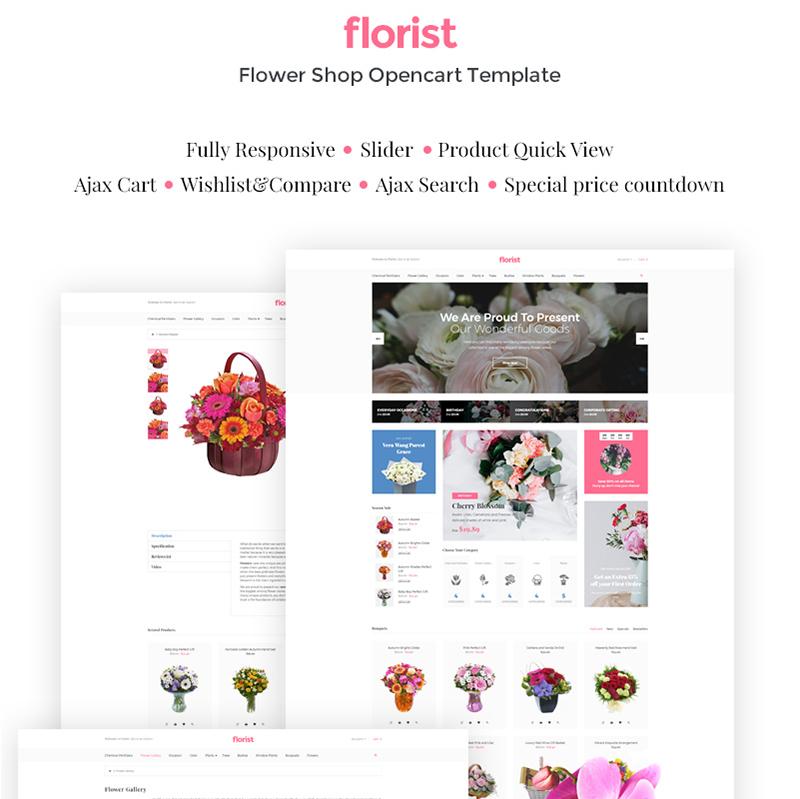 Florist — OpenCart шаблон для сайта магазина цветов