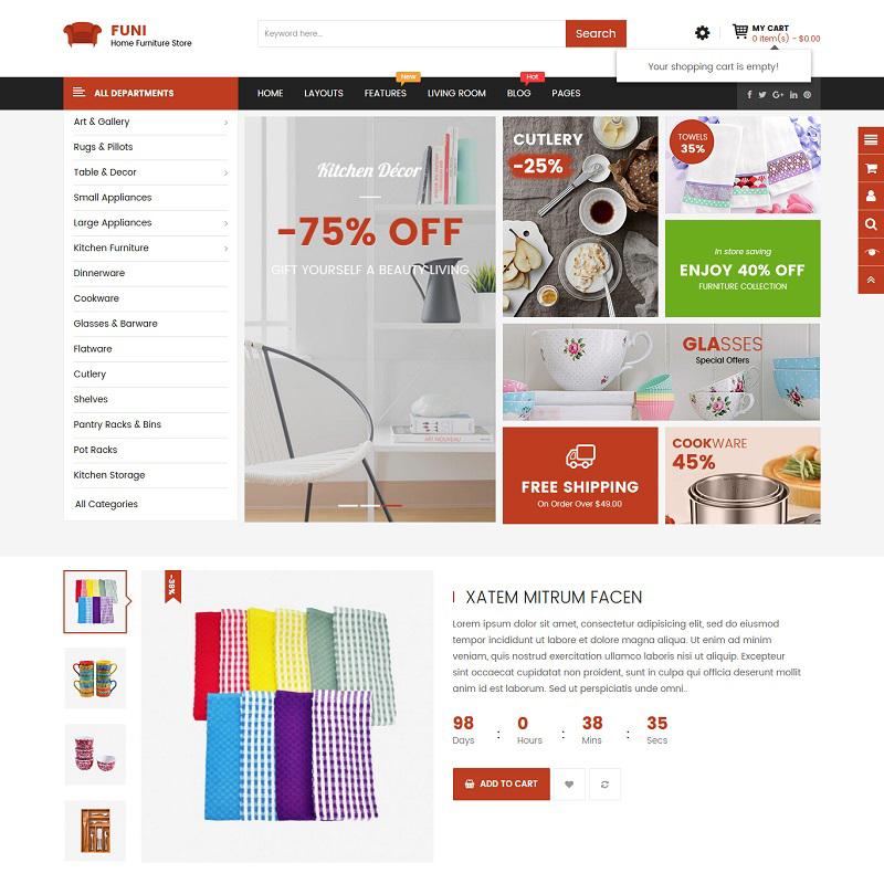 Funi — OpenCart шаблон для сайта мебельного магазина