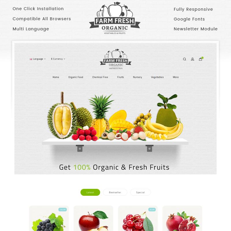 Farm Fresh — OpenCart шаблон для сайта продуктового магазина