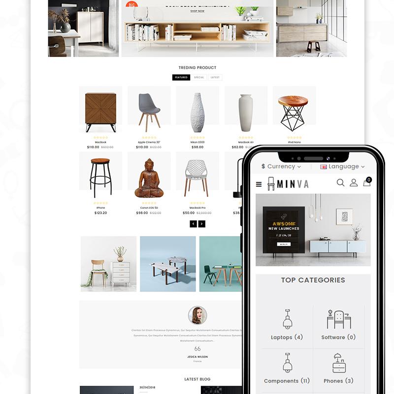 Minva — OpenCart шаблон для сайта магазина мебели