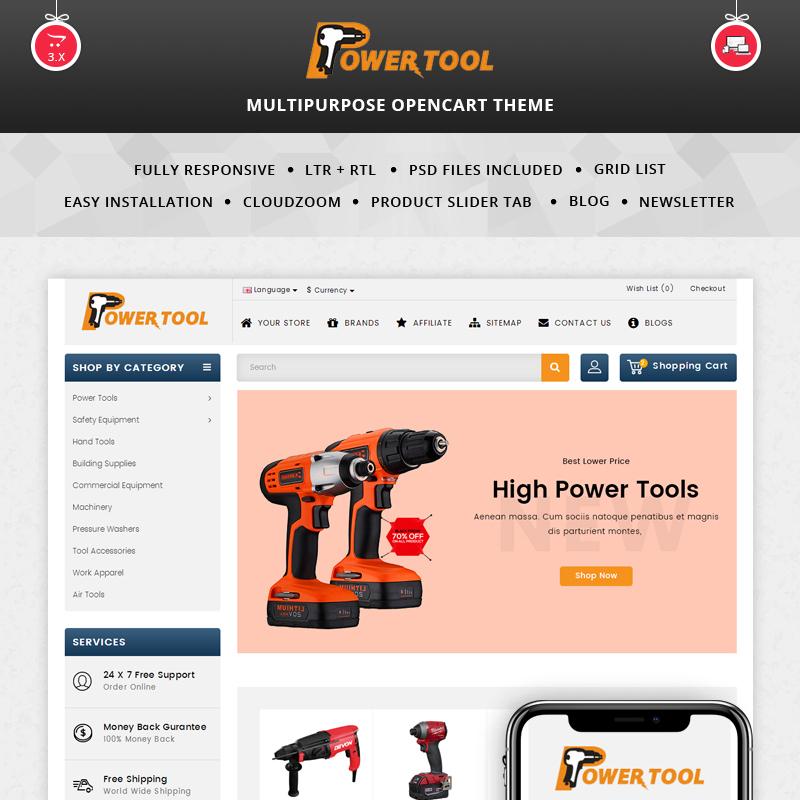 Powertool — OpenCart шаблон для сайта магазина инструментов