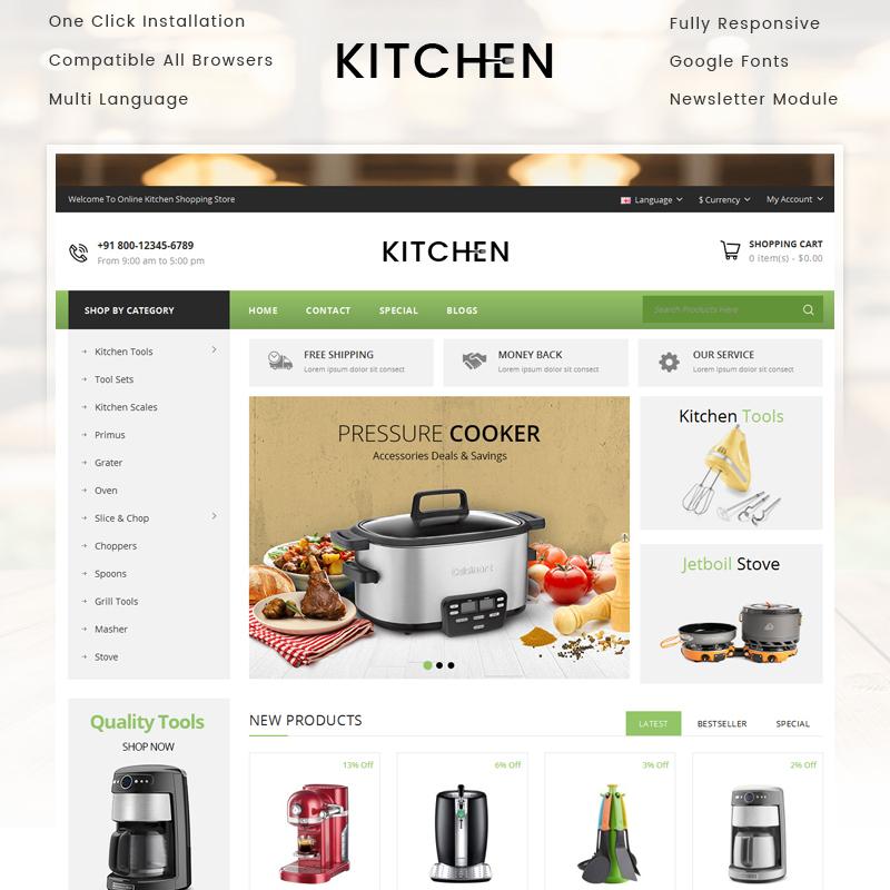 Kitchen — OpenCart шаблон для сайта магазина кухонных приборов