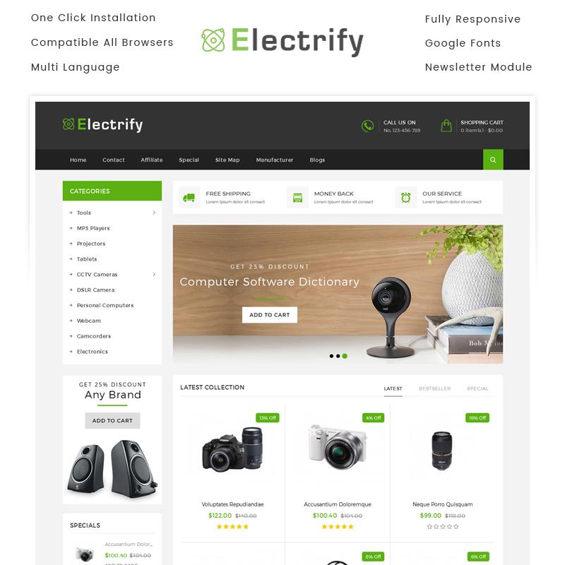 Electrify — OpenCart шаблон для сайта электроники