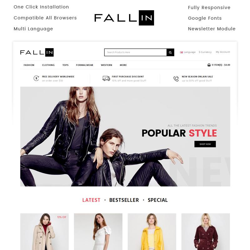 FallIn — OpenCart шаблон для сайта магазина одежды