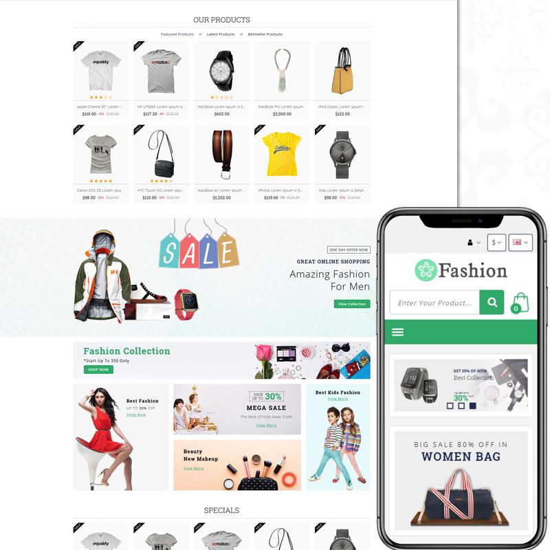 Fashion — OpenCart шаблон для сайта магазина одежды